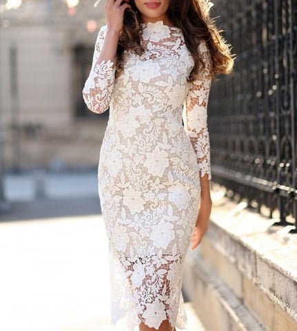 Sexy Lace Long Sleeve White Dress