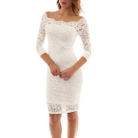 Sexy Strapless Long sleeve Lace Dress