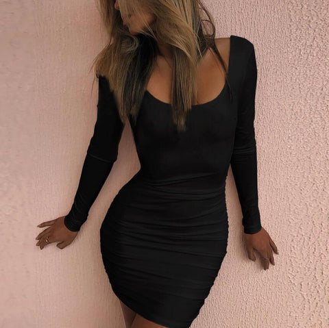 Fashion Backless Long Sleeve Bodycon Dress