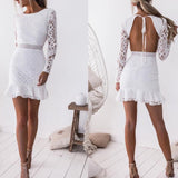 Fashion Long Sleeve Lace White Dress