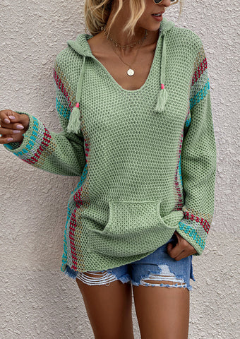 Hooded Long Sleeved Pullover Loose Sweater