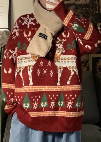 Loose Knit Reindeer Sweater