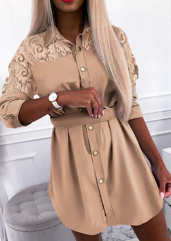 Design Lace Button Shirt Dress