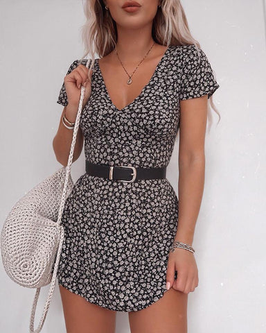 Short Sleeve V-Neck Floral Print Dress
