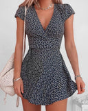 Womens V-neck Short Sleeve Dress