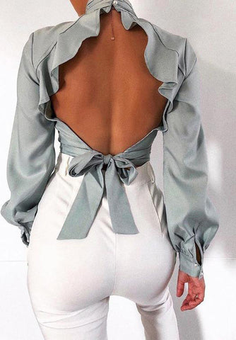 Backless Sexy High Collar Top