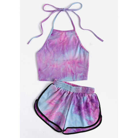 Sling Vest Exposed Navel Shorts Two Piece Sets
