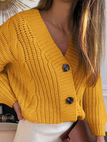 Long-Sleeved Button Loose Twist Knit Sweater