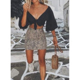 Womens High Waist Leopard-Print Skirt