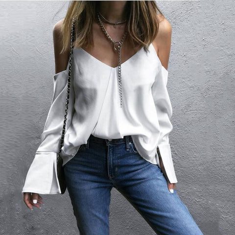 Fashion Sling V-neck Blouses Shirt Crop Top