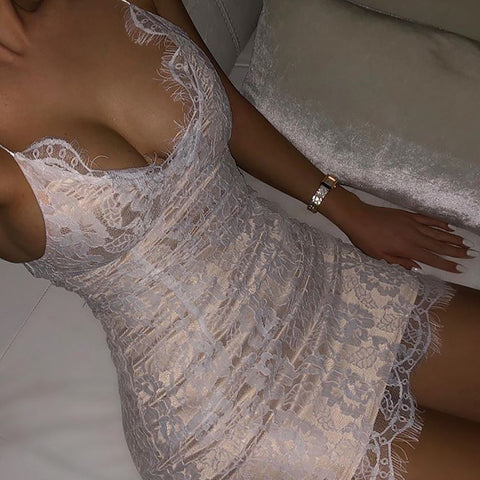 Sexy Deep V-neck Lace White Dress