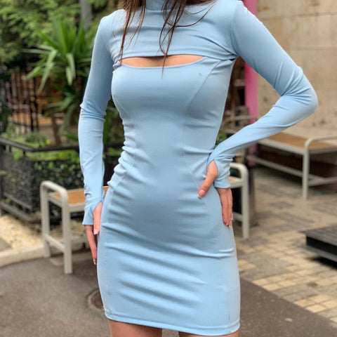 Sexy High Neck Long sleeve Dress