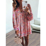 Women's Long Sleeve Print Dress