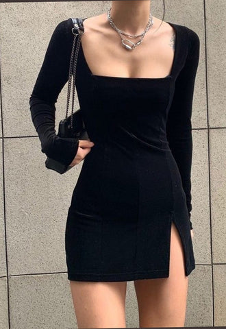 Long Sleeves Velvet Tight Mini Dress