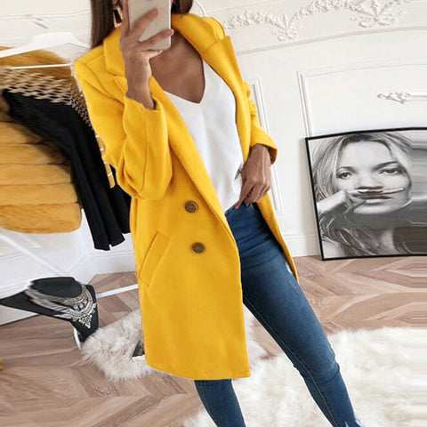 Solid Color Lapel Button Coat Top