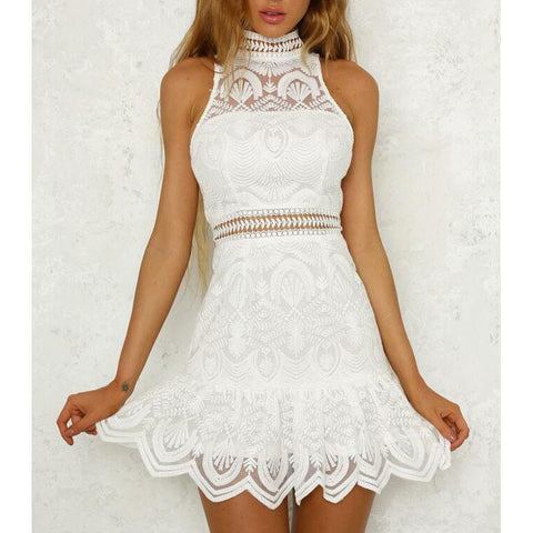 Sexy Womens White Sleeveless Lace Dress