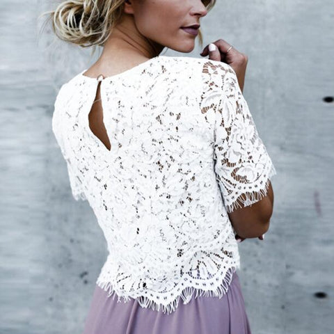Fashion Round Neck Lace Solid Color T-Shirt White