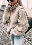 Womens High-Neck Bat-Sleeve Curled Sweater