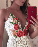 Lace V-neck Embroidered Dress