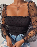 Womens Long Sleeve Polka Dot Crop Top