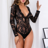 Sexy Lace V-Neck Long Sleeve Jumpsuit