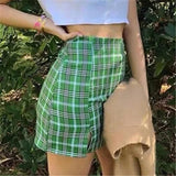 Fashion High Waist Plaid Print Skirt