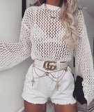 Long Sleeve Openwork Solid Color Top Sweater