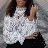 Sexy Lace White Blouses Shirt Crop Top