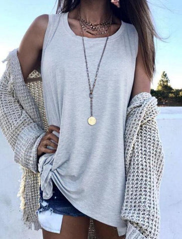 Fashion  Pure Color Loose Blouses Shirt Crop Top