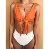 Womens High Waist Swimwear Bikini Set Swimsuit