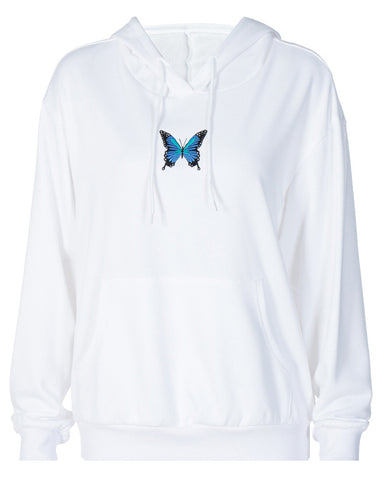Hooded Embroidery Butterfly Loose Sweater