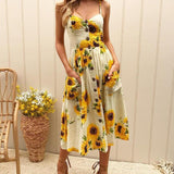 Fashion Sleeveless Print Sling Dress