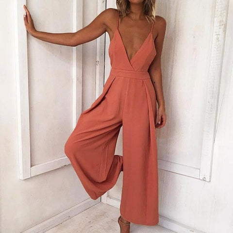 Sexy V-neck Sling Loose Backless Rompers Jumpsuit Trousers