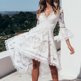 V-Neck Lace High Waist Dress