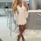 White Sexy V-Neck Long-Sleeved White Dress