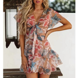Women'S V-Neck Print Dress