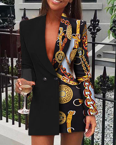 Long Sleeve Print Blazer Dress