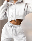 Drawstring Hooded Top & Pants Two Piece Set