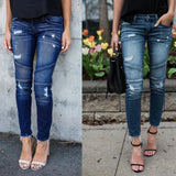 Womens Fashion Stretch Pencil Frayed Denim Pants