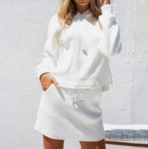 Hooded Tops Long Sleeve  Skirt Two-Piece Suit