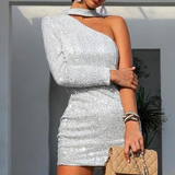 Irregular Sexy Sequins Silver Dress