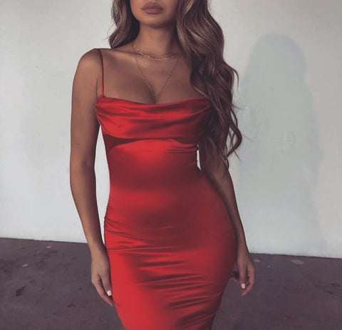 Sexy Solid Color Sling Backless Dress