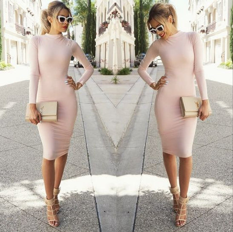 SLIM ROUND NECK LONG-SLEEVED DRESS