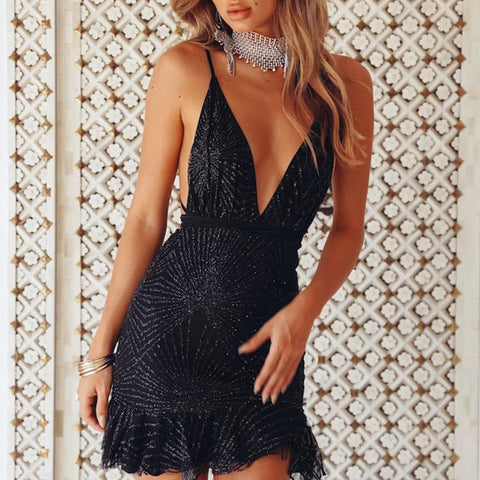 Sexy Bandage Deep V-Neck Sequin Dress