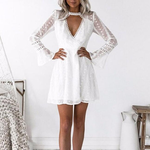 Fashion Trumpet Sleeve Deep V-Neck Dress