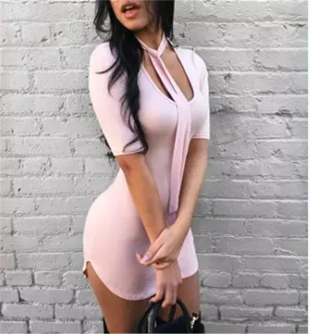 SOLID COLOR SEXY PACKAGE HIP DRESS