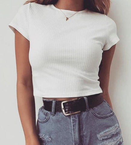 Fashion Round Neck Solid Color T-shirt Crop Top