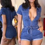 Fashion Deep V Neck Zipper Denim Bodycon Jumpsuit