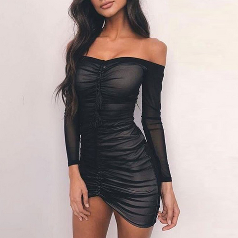 Long Sleeve Sexy Package Hip Dress