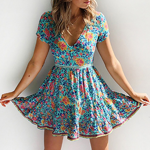 V-Neck Printing Short-Sleeved Dress